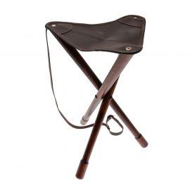 Trebenet stol med lædersæde